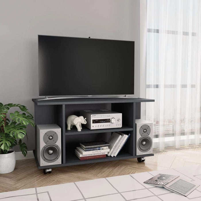 TV Cabinet with Castors Grey 80x40x40 cm Chipboard