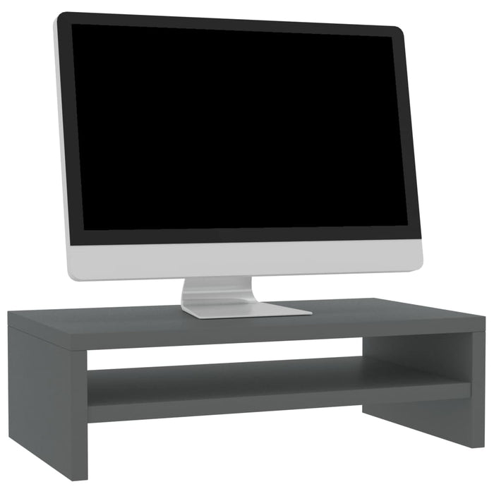 Monitor Stand High Gloss Grey 42x24x13 cm Chipboard