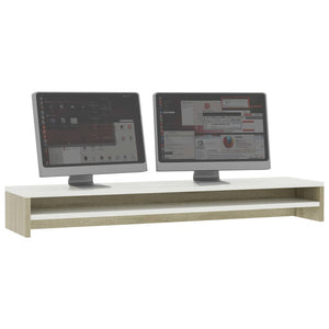Monitor Stand White and Sonoma Oak 100x24x13 cm Chipboard