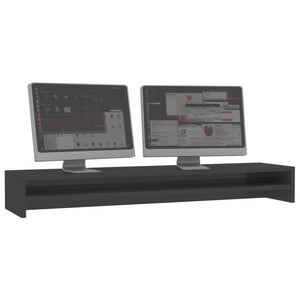 Monitor Stand High Gloss Grey 100x24x13 cm Chipboard