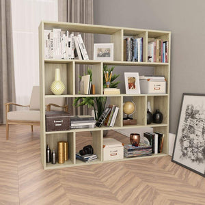 Room Divider/Book Cabinet Sonoma Oak 110x24x110 cm Chipboard
