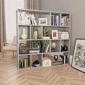Room Divider/Book Cabinet Concrete Grey 110x24x110 cm Chipboard