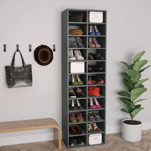 Shoe Cabinet Grey 54x34x183 cm Chipboard