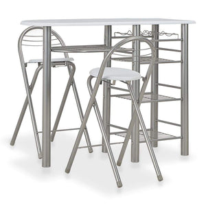 3 Piece Bar Set with Shelves Wood and Steel White