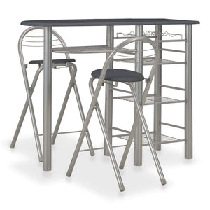 3 Piece Bar Set with Shelves Wood and Steel Black