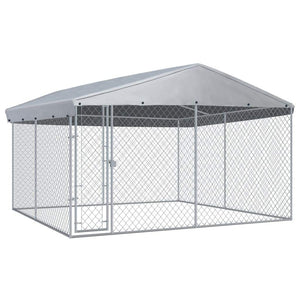 Outdoor Dog Kennel with Roof 382x382x225 cm