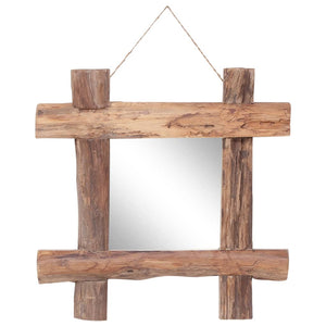 Log Mirror Natural 50x50 cm Solid Reclaimed Wood - sku 283933