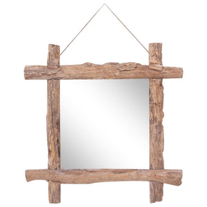 Log Mirror Natural 70x70 cm Solid Reclaimed Wood - sku 283934