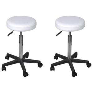 Office Stools 2 pcs White 35.5x98 cm Faux Leather
