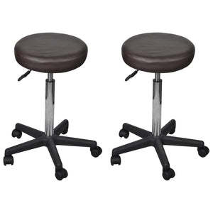 Office Stools 2 pcs Brown 35.5x98 cm Faux Leather