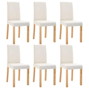 Dining Chairs 6 pcs Cream Faux Leather