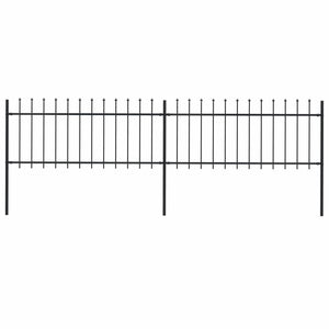 Garden Fence with Spear Top Steel 3.4 m Black - sku 277603