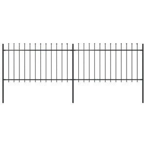 Garden Fence with Spear Top Steel 3.4x1 m Black