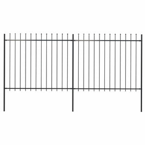 Garden Fence with Spear Top Steel 3.4x1.5 m Black