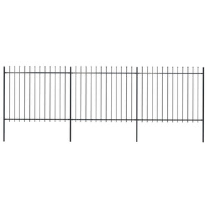 Garden Fence with Spear Top Steel 5.1x1.5 m Black