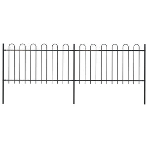 Garden Fence with Hoop Top Steel 3.4x1 m Black