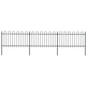 Garden Fence with Hoop Top Steel 5.1x1 m Black
