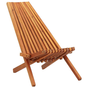Folding Outdoor Lounge Chair Solid Acacia Wood