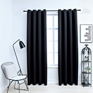 Blackout Curtains with Metal Rings 2 pcs Black 140x245 cm - sku 134412