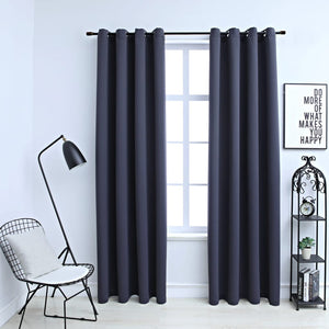 Blackout Curtains with Metal Rings 2 pcs Anthracite 140x245 cm - sku 134420