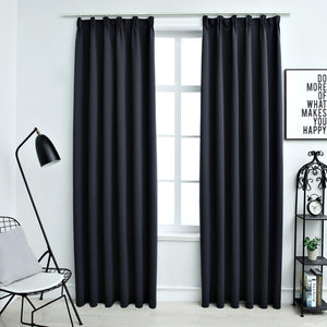 Blackout Curtains with Hooks 2 pcs Anthracite 140x245 cm - sku 134424