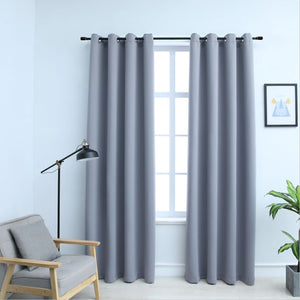 Blackout Curtains with Metal Rings 2 pcs Grey 140x245 cm - sku 134428