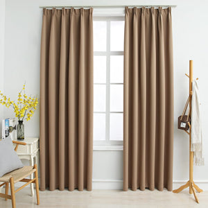 Blackout Curtains with Hooks 2 pcs Taupe 140x245 cm - sku 134440