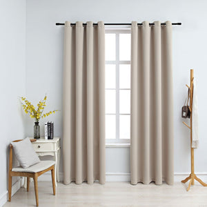 Blackout Curtains with Metal Rings 2 pcs Beige 140x245 cm - sku 134444