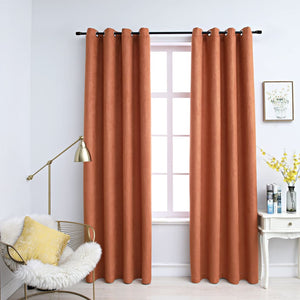 Blackout Curtains with Metal Rings 2 pcs Rust 140x225 cm - sku 134471