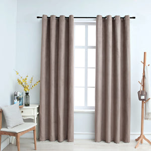 Blackout Curtains with Metal Rings 2 pcs Taupe 140x225 cm - sku 134477