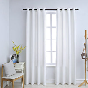 Blackout Curtains with Metal Rings 2 pcs Off White 140x225 cm - sku 134483