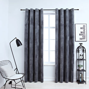 Blackout Curtains with Rings 2 pcs Velvet Anthracite 140x245 cm - sku 134498