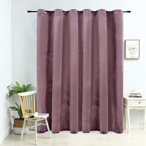 Blackout Curtain with Metal Rings Velvet Antique Pink 290x245 cm - sku 134523