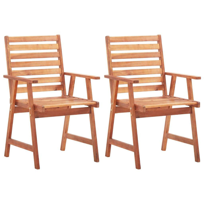 Outdoor Dining Chairs 2 pcs Solid Acacia Wood