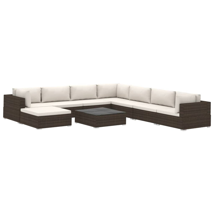 9 Piece Garden Lounge Set with Cushions Poly Rattan Brown