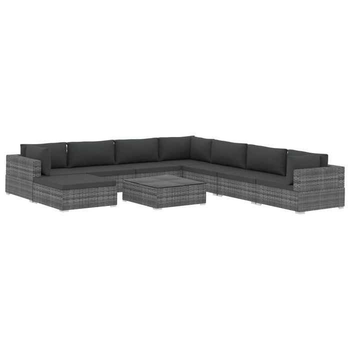 9 Piece Garden Lounge Set with Cushions Poly Rattan Grey