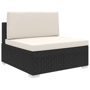 Sectional Middle Seat 1 pc with Cushions Poly Rattan Black