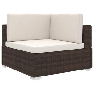 Sectional Corner Chair 1 pc with Cushions Poly Rattan Brown