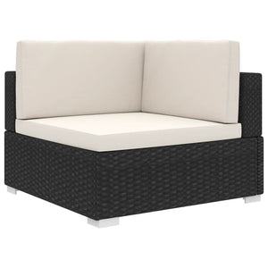 Sectional Corner Chair 1 pc with Cushions Poly Rattan Black