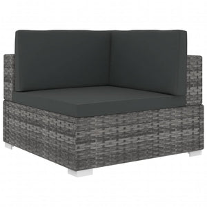 Sectional Corner Chair 1 pc with Cushions Poly Rattan Grey