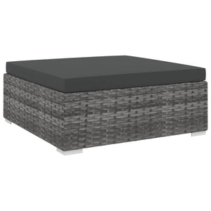 Sectional Footrest 1 pc with Cushion Poly Rattan Grey
