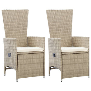 Reclining Garden Chairs 2 pcs with Cushions Poly Rattan Beige