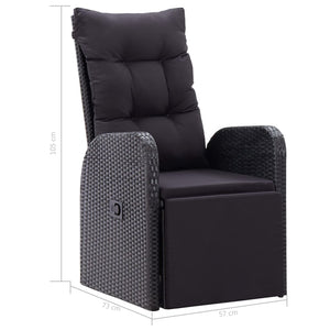 Reclining Garden Chair with Cushion Poly Rattan Black