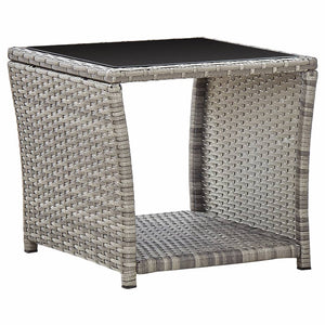 Coffee Table Grey 45x45x40 cm Poly Rattan and Glass