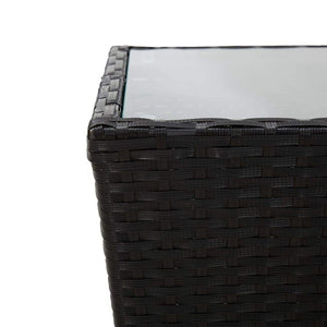 Tea Table Black 41.5x41.5x43 cm Poly Rattan and Tempered Glass