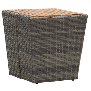 Tea Table Grey 41.5x41.5x43 cm Poly Rattan and Solid Acacia Wood