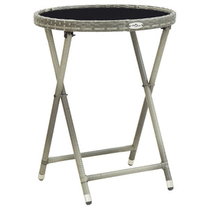 Tea Table Grey 60 cm Poly Rattan and Tempered Glass