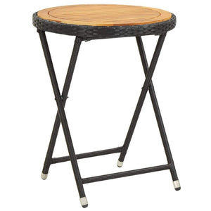 Tea Table Black 60 cm Poly Rattan and Solid Acacia Wood