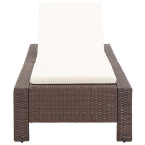Sunbed with Cushion Brown Poly Rattan