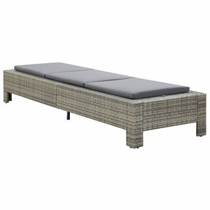 Sunbed with Cushion Grey Poly Rattan